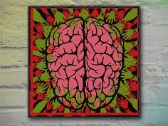 Zombie Brain Cross Stitch Pattern INSTANT DOWNLOAD by DeepKaplio