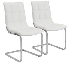 Chad Set of 2 White and Chrome Side Chairs | 55DowningStreet.com