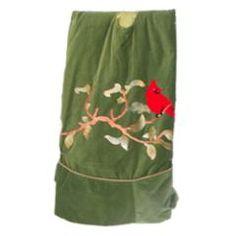 Green Velvet Cardinal tree skirt at the Santa Claus Christmas Store.