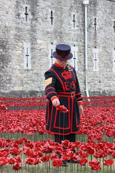 "Paul Cummins designed the poppies. The first flower was ""planted"" at the Tower of London on 17 June 2014 by Crawford Butler the oldest serving Yeoman Warder to commemorate the 888,246 fallen of WWI"