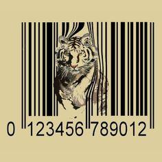 Funny tiger barcode vector tee shirts