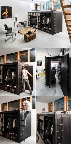 THE LIVING CUBE designed by Till Konneker for apartment studio without storage room. He made a minimalistic cube design with a shelf for vinyl collection, TV, Clothes and Shoes. On the cube is a guest bed and inside the cube is a lot of storage space. // HAATI CHAI