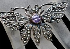 Sterling Silver Butterfly .5 Ct Amethyst Gemstone Marcasite Figural Pin Brooch