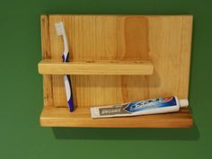 Simple wood toothbrush holder bathroom shelf MUD by WoodsNWoolens, $25.00