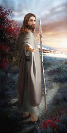 Beautiful Christian art of Jesus holding a shepherds staff.