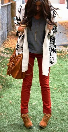 Aztec print cardigan, grey top, red skinnies with suede bag and booties