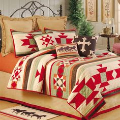 Southwest Ranch Western Quilt with Accessories $109 twin xl room, ginger sheets, capuccino  blankets