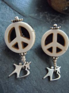 Peace Big Brother Big Sister Logo Post Earrings