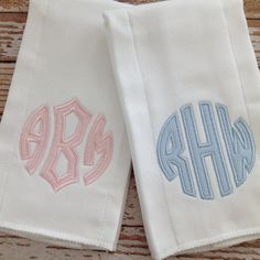 Applique Monogram Baby Burp Cloth For Girl or Boy