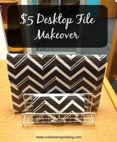 $5 Desktop File Makeover using items from the Target Dollar Spot. A quick & easy organizing project!