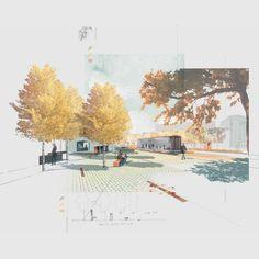 Landscape Architecture Perspective, Water Architecture, Landscape Architecture Drawing, Architecture Graphics, Architecture Visualization, Minimalist Architecture, Concept Architecture, Landscape Design, Architecture Design