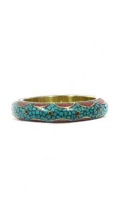Chura 20. Bracelet en laiton, incrustations de turquoise et corail.
