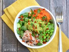 Spicy Tuna Guacamole Bowls - replace tuna with chunks of chicken, use sliced avocado instead of guac