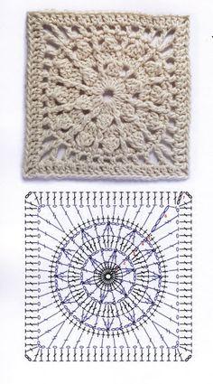 Motifs Granny Square, Granny Square Bag, Granny Square Crochet Pattern, Crochet Diagram, Crochet Chart, Crochet Squares, Crochet Granny, Filet Crochet, Crochet Stitches