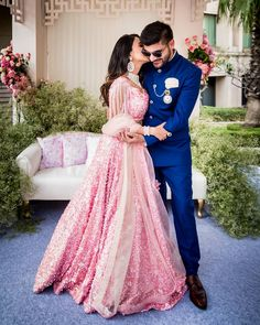 Looking for Light pink engagement lehenga with sequins? Browse of latest bridal photos, lehenga & jewelry designs, decor ideas, etc. on WedMeGood Gallery. Engagement Couple Dress, Indian Engagement Outfit, Indian Engagement Photos, Engagement Gowns, Couple Wedding Dress, Indian Wedding Outfits, Bridal Outfits, Indian Wedding Clothes For Men, Indian Reception Outfit