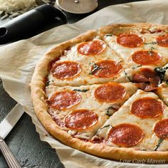 Low Carb Pepperoni Pizza Recipe with Fathead Crust via @lowcarbmaven