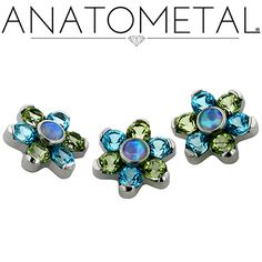 Threaded Flowers in ASTM F-136 titanium; synthetic Faceted Opal, genuine Paraiba and Khaki Passion Topaz gems
