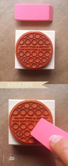 CRISPER IMPRESSIONS: Going over the surface of your stamp with a rubber eraser will give your surface a little texture for ink to grip to. by jeanie