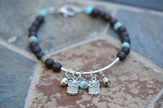 Owl Charm Bracelet. There is room to add my own favorite charms! by LaceCharming
