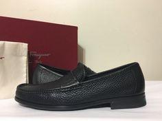 Salvatore Ferragamo Narni Nero Calf Leather Men's Slip On Loafers Oxfords 8 D Mens Slip On Loafers, Loafers Men, Calf Leather, Leather Men, Mens Designer Shoes, Oxfords, Salvatore Ferragamo, Oxford Shoes, Dress Shoes