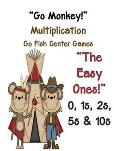 Fern Smith's Go Monkey! Multiplication Go Fish Game ~ The Easy Ones, 0, 1, 2, 5 & 10 $3