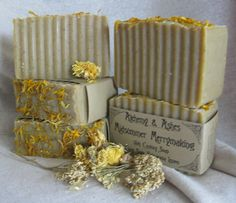 Midsummer Merrymaking 15th Century Cold Process Soap ~ Scented with essential oils of Clary Sage, Palmarosa, Lemon and Rosewood, and colored with Calendula and Yellow Silt Clay