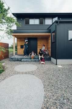 Black House Exterior, Casas Containers, Minimalist Home, Cladding, House Colors, My House, Facade, Floor Plans, House Design