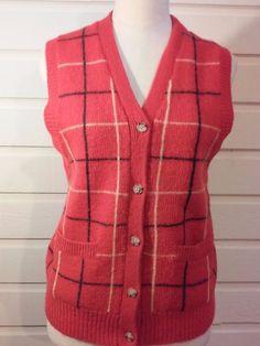 VINTAGE Women's Corporate Woman Sweater Vest 100% Wool Size M Red Plaid Mint #CorporateWoman #VestSleeveless