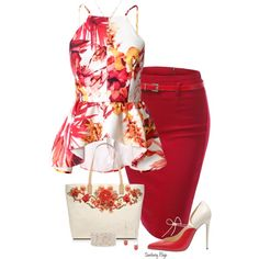 Red pencil skirt and floral peplum set with matching bag.