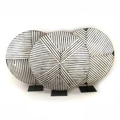 Mounted on a metal stand, the Round Bamileke Shield is an expressive sculptural art piece that contains geometric patterns and are assorted & selected randomly. Cross Patterns, Geometric Patterns, Seashell Projects, African Home Decor, Baskets On Wall, Handmade Shop, African Art, Painting On Wood, Sculpture Art