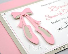 Ballet Slippers Invitation for Girls Ballerina or Dance Theme Birthday Party
