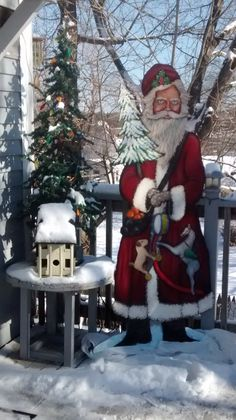 Almost 6 Feet Tall Original Hand Painted Wood Old Fashioned Santa Claus Dummy Board Cutout ONE OF A KIND