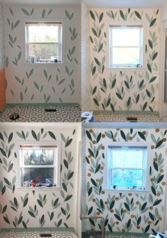 How to Paint Over Wallpaper in a Bathroom Decor, Diy Bathroom, Painting Over Wallpaper, Interior, Diy Wallpaper, Bathroom Makeover, Home Decor, Bathroom Colors, Bathroom Mural