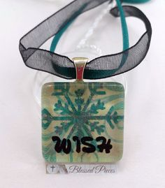 Glass Pendant Necklace, Wish, Teal Snowflake