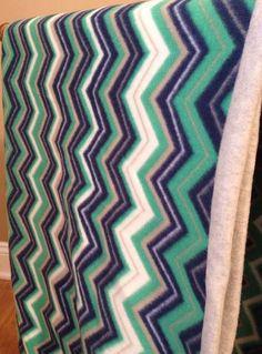Blue and Green Chevron Fleece Blanket Chevron by MamaWhoCrafts
