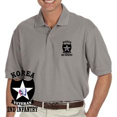 Grab a unique Army 2nd Infantry Division Korea Veteran Grey Performance Polo Shirt today. These good looking polos will keep you cool as they are performance wicking, stain-resistant & offer UV Protection. Designed, Printed & Sublimated in the USA -Fabric Imported.