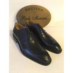 Bottega Paolo Mariani 1922 scarpe uomo in vera pelle fatte a mano francesina in vitello francese blu lavorazione norvegese