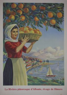 """Albania / Albania c. 1930 /  28 x 39 in (71 x 99 cm) / """"La Riviera pittoresque d'Albanie, rivage de Himara.""""  A travel poster for Albania, written in French. The poster features a woman holding a fruit basket on the shores of Himarë."""
