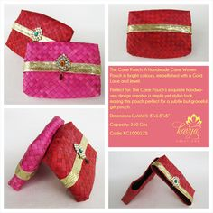 Our Cane Pouch: A Handmade Cane Woven Pouch in bright colours, embellished with a Gold Lace and Jewel.