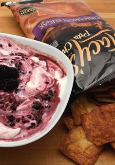 Try making this blackberry yogurt dip to pair with the sweet crunch of STACY'S Cinnamon Sugar Pita Chips.