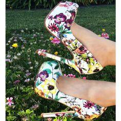 Floral Print Platform Heels