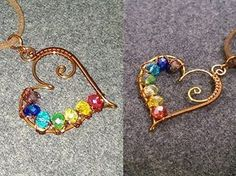 heart pendants with colored crystal beads - How to make wire jewelery 201 - YouT. heart pendants w Bijoux Wire Wrap, Bijoux Diy, Wire Wrapped Jewelry, Wire Jewelry Designs, Jewelry Crafts, Jewelry Ideas, Handmade Wire, Handmade Jewelry, Copper Jewelry
