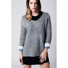 Light gray soft knit jersey  with contrasting trim