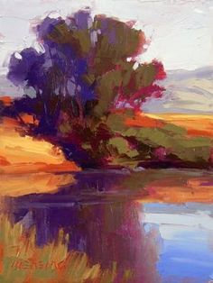 A tree thriving on the shore of a pond in far western Montana / David Mensing Oil on canvas 12 x 9 by robyn