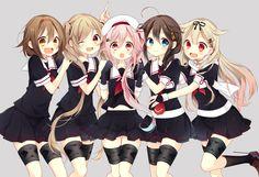 harusame_(kancolle) kantai_collection murasame_(kancolle) naoto_(tulip) shigure_(kancolle) shiratsuyu_(kancolle) yuudachi_(kancolle)