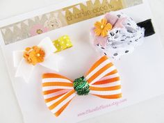 Girls/Baby Halloween Hair Clip Set Felt Flower by CharlieCocos, $14.95