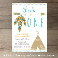 Tribal Birthday Party Invitations invites arrows by greylein First Birthday Parties, Boy Birthday, First Birthdays, Birthday Ideas, Baby Shower Invitaciones, Digital Invitations, Birthday Party Invitations, Party Time, Creations