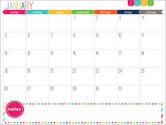 12 Month Calendar Printable  Prefilled for por IHeartOrganizing, $3.00