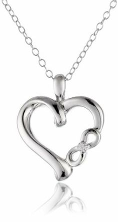 Sterling silver open heart with diamond cross faith hope love sterling silver diamond infinite love symbolic heart with infinity sign pendant necklace 001 cttw aloadofball Images