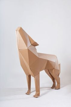 The Red Cape Project Uses Cardboard to Communicate Its Message Cardboard Sculpture, Cardboard Paper, Cardboard Crafts, Paper Toys, Paper Clay, Geometric Sculpture, Geometric Art, Abstract Sculpture, Cardboard Design
